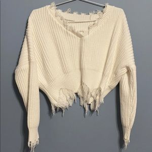 Solid Mock Ripped Sleeve Sweater